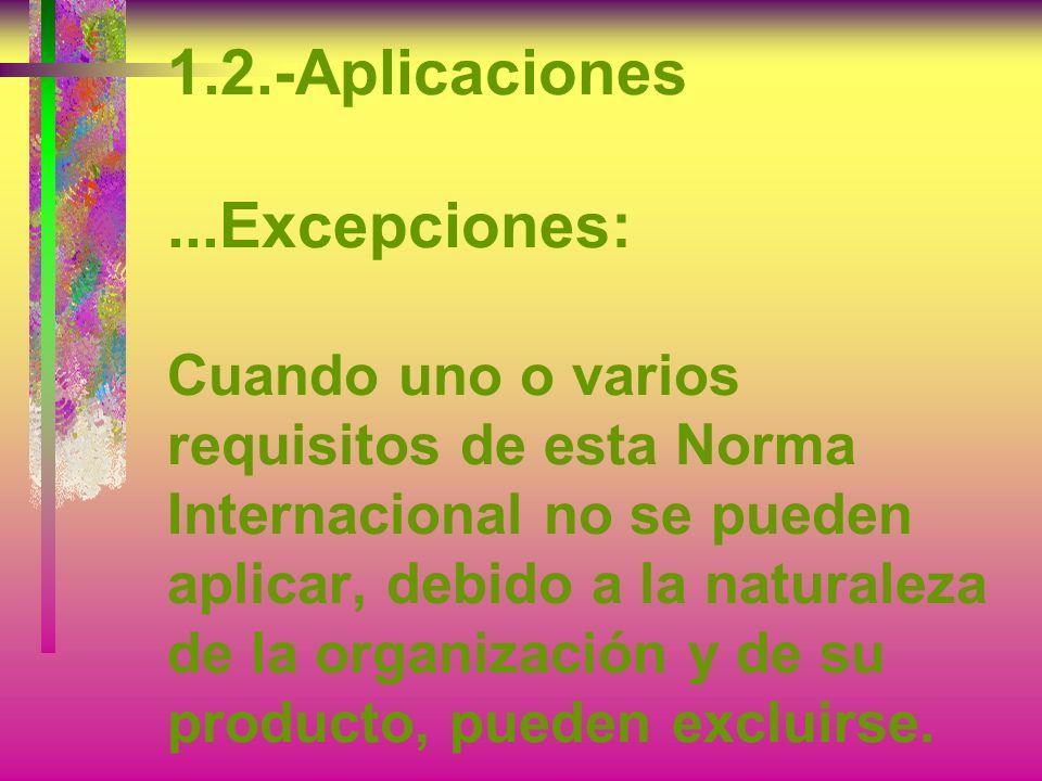 1.2.-Aplicaciones ...Excepciones: Cuando uno o varios requisitos de esta Norma Internacional no se pueden aplicar, debido a la naturaleza de la organización y de su producto, pueden excluirse.