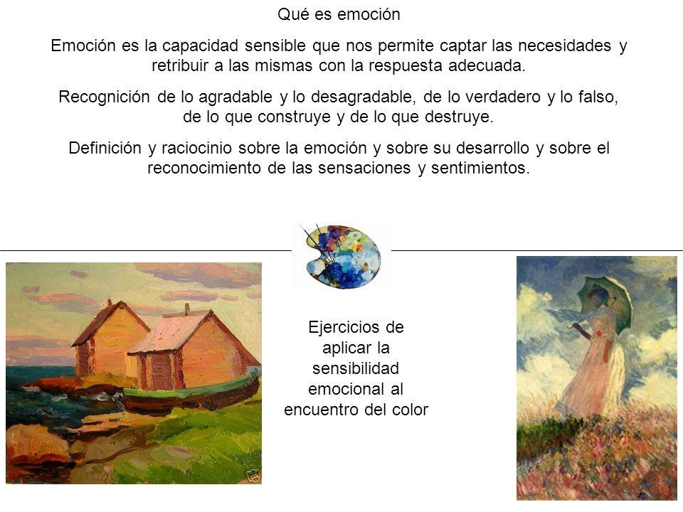 Ejercicios de aplicar la sensibilidad emocional al encuentro del color