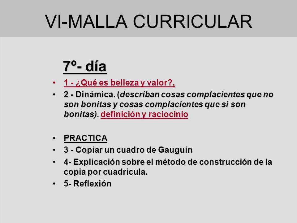 VI-MALLA CURRICULAR 7º- día 1 - ¿Qué es belleza y valor ,