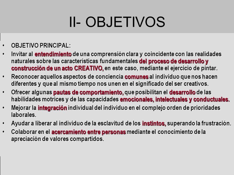 II- OBJETIVOS OBJETIVO PRINCIPAL: