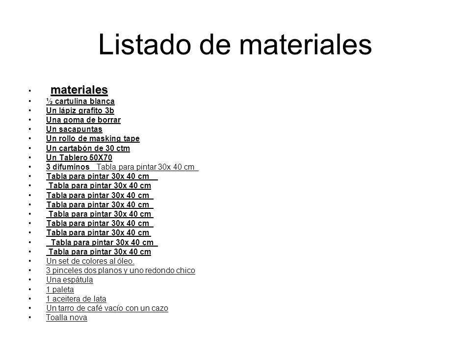 Listado de materiales materiales ½ cartulina blanca