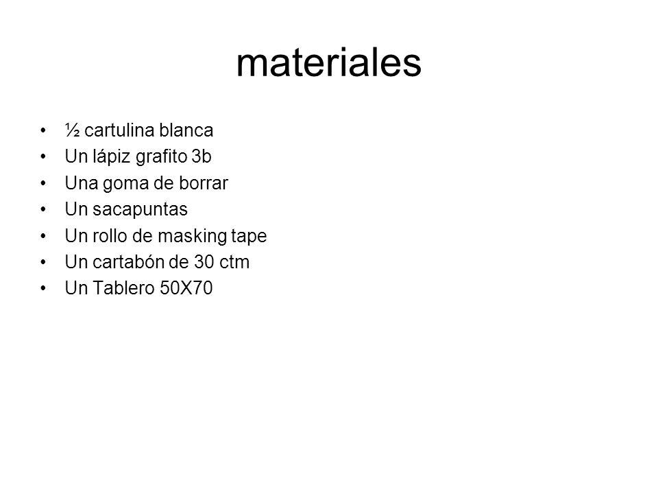 materiales ½ cartulina blanca Un lápiz grafito 3b Una goma de borrar