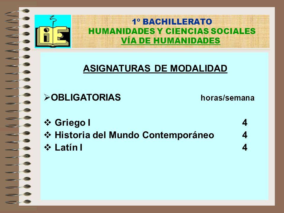 1º BACHILLERATO HUMANIDADES Y CIENCIAS SOCIALES VÍA DE HUMANIDADES