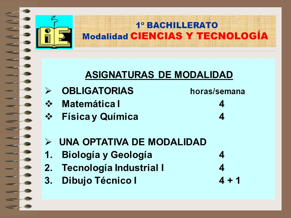 1º BACHILLERATO Modalidad CIENCIAS Y TECNOLOGÍA
