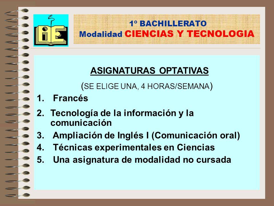 1º BACHILLERATO Modalidad CIENCIAS Y TECNOLOGIA