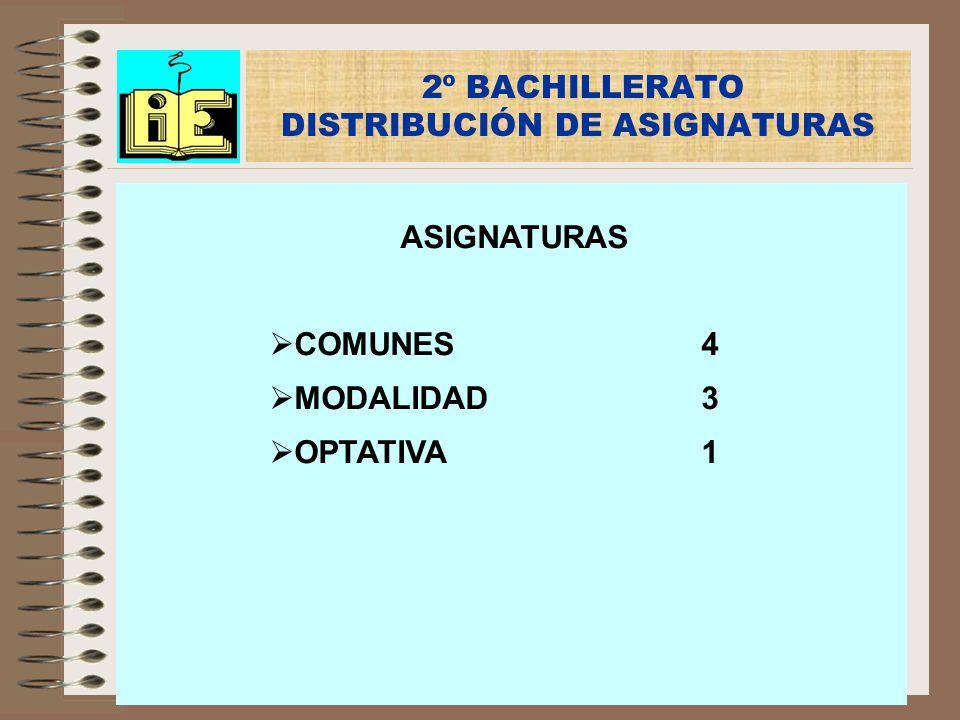 2º BACHILLERATO DISTRIBUCIÓN DE ASIGNATURAS