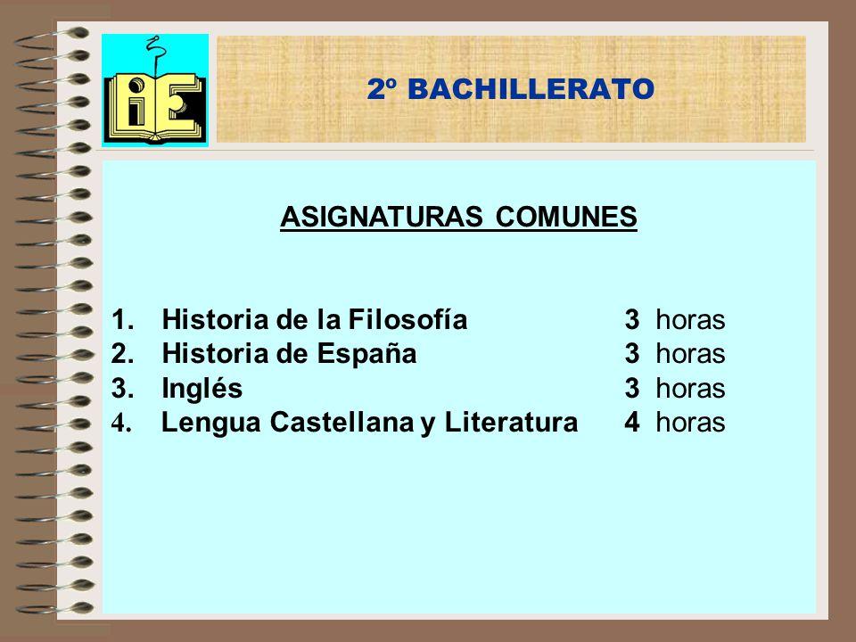 2º BACHILLERATO ASIGNATURAS COMUNES. Historia de la Filosofía 3 horas. Historia de España 3 horas.