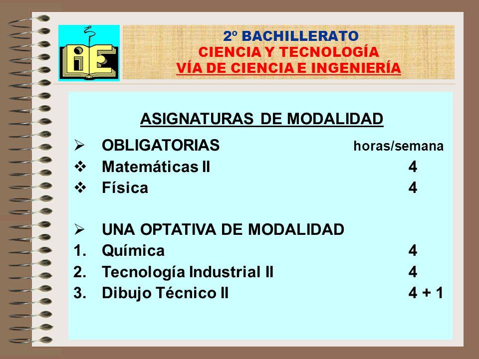 2º BACHILLERATO CIENCIA Y TECNOLOGÍA VÍA DE CIENCIA E INGENIERÍA