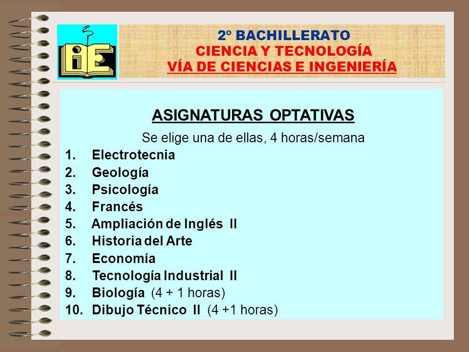 2º BACHILLERATO CIENCIA Y TECNOLOGÍA VÍA DE CIENCIAS E INGENIERÍA