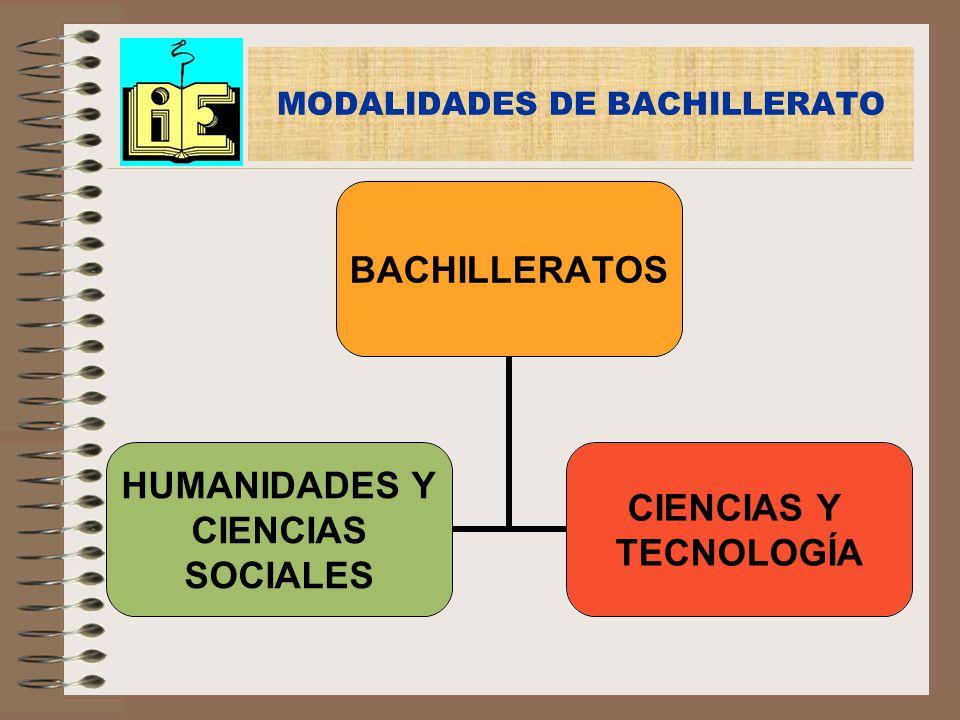 MODALIDADES DE BACHILLERATO