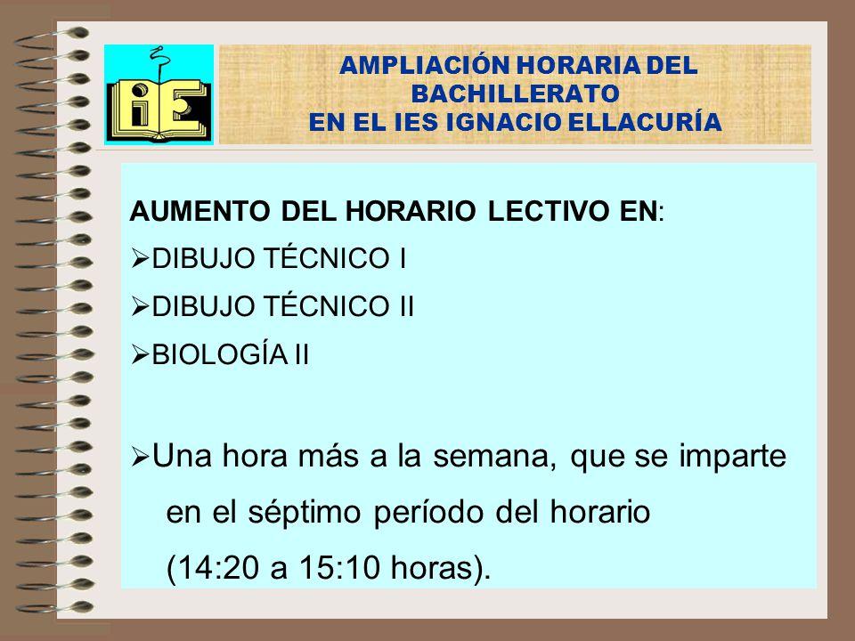 AMPLIACIÓN HORARIA DEL BACHILLERATO EN EL IES IGNACIO ELLACURÍA