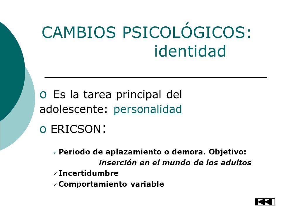 CAMBIOS PSICOLÓGICOS: identidad