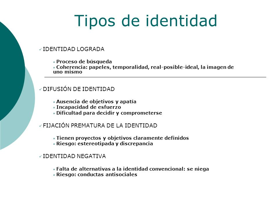 Tipos de identidad IDENTIDAD LOGRADA DIFUSIÓN DE IDENTIDAD
