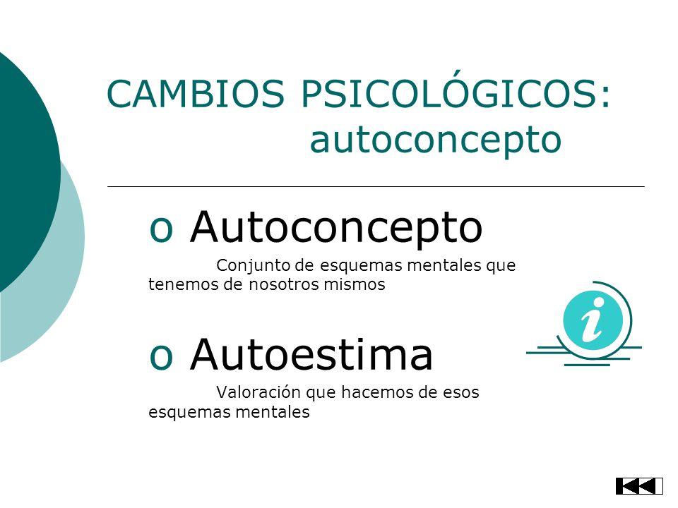 CAMBIOS PSICOLÓGICOS: autoconcepto