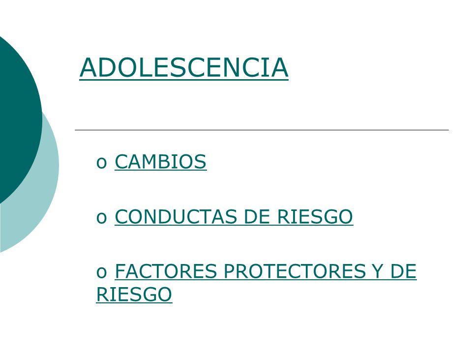 CAMBIOS CONDUCTAS DE RIESGO FACTORES PROTECTORES Y DE RIESGO