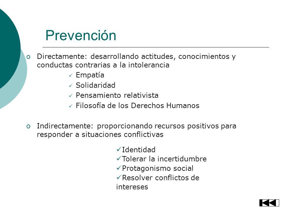 Prevención Directamente: desarrollando actitudes, conocimientos y conductas contrarias a la intolerancia.