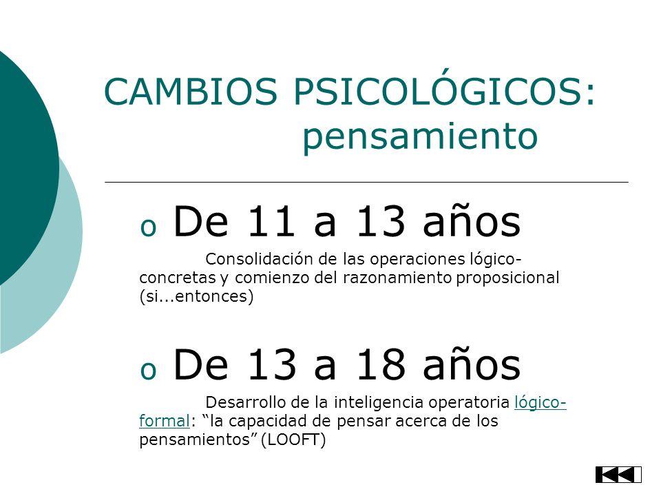 CAMBIOS PSICOLÓGICOS: pensamiento