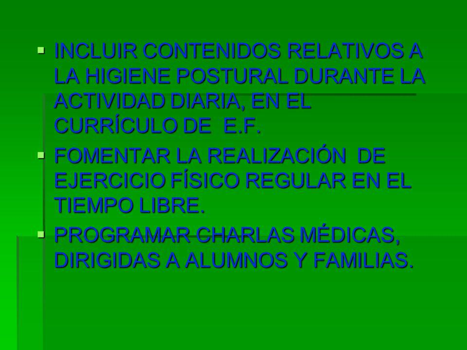 INCLUIR CONTENIDOS RELATIVOS A LA HIGIENE POSTURAL DURANTE LA ACTIVIDAD DIARIA, EN EL CURRÍCULO DE E.F.
