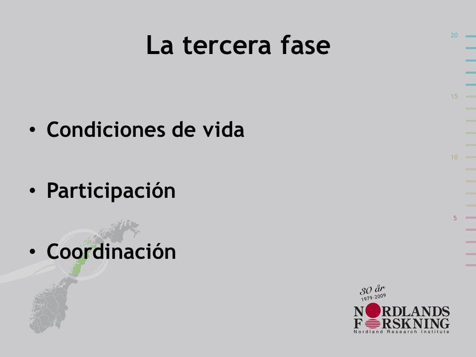 La tercera fase Condiciones de vida Participación Coordinación