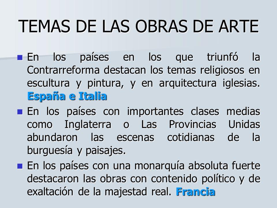 TEMAS DE LAS OBRAS DE ARTE