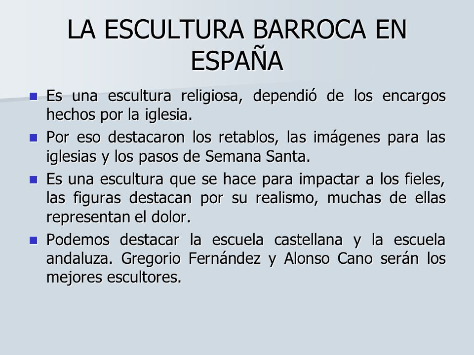 LA ESCULTURA BARROCA EN ESPAÑA