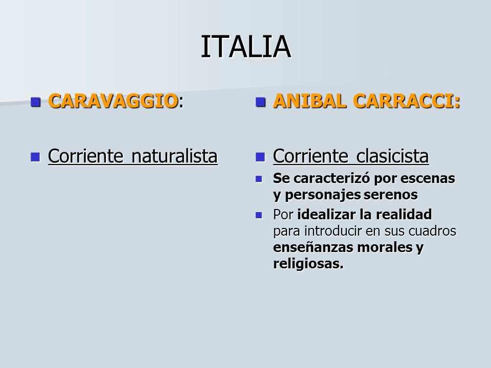 ITALIA CARAVAGGIO: Corriente naturalista ANIBAL CARRACCI: