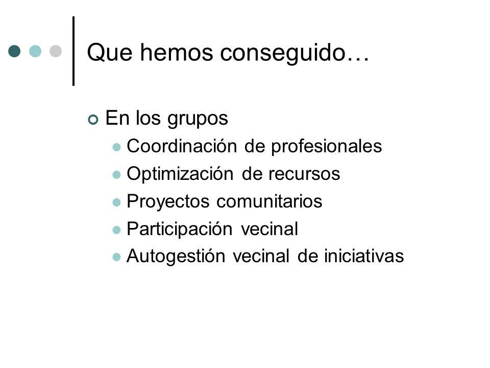 Que hemos conseguido… En los grupos Coordinación de profesionales
