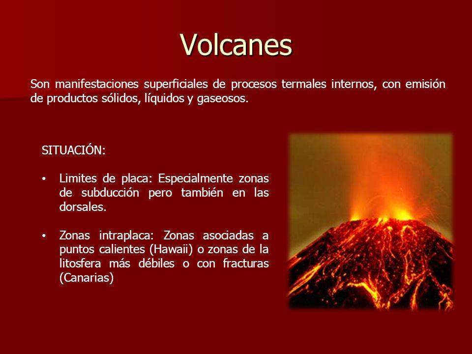 Volcanes Son manifestaciones superficiales de procesos termales internos, con emisión de productos sólidos, líquidos y gaseosos.