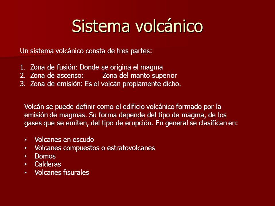 Sistema volcánico Un sistema volcánico consta de tres partes: