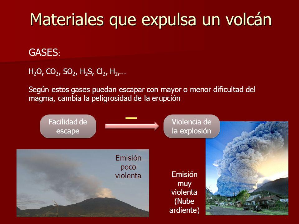 Materiales que expulsa un volcán