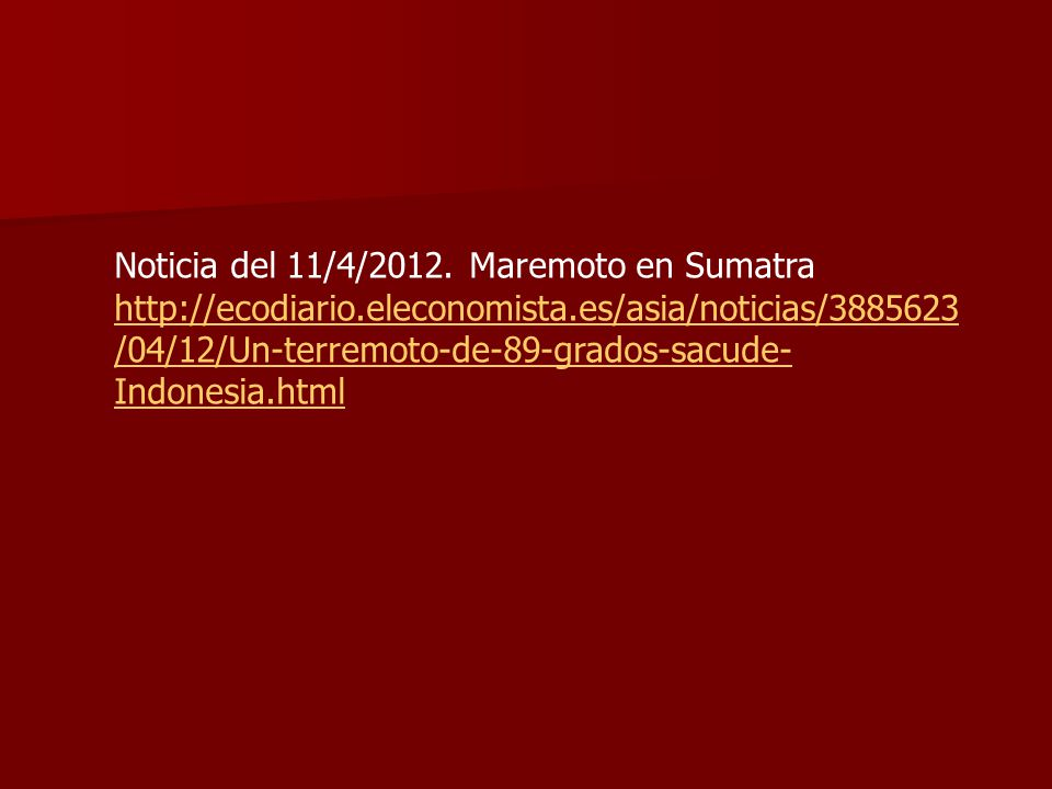 Noticia del 11/4/2012. Maremoto en Sumatra