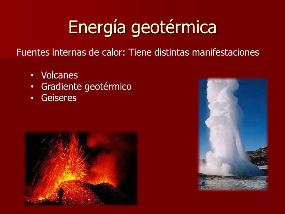 Energía geotérmica Fuentes internas de calor: Tiene distintas manifestaciones. Volcanes. Gradiente geotérmico.
