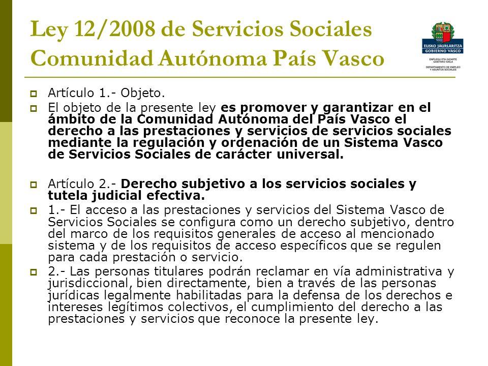 Ley 12/2008 de Servicios Sociales Comunidad Autónoma País Vasco
