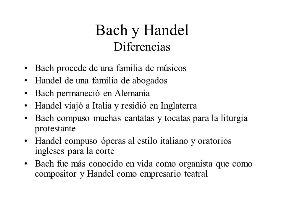 Bach y Handel Diferencias