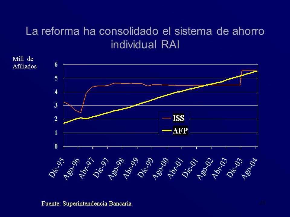 La reforma ha consolidado el sistema de ahorro individual RAI