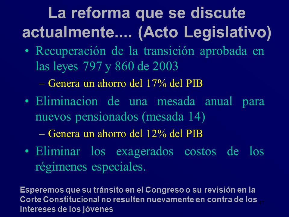La reforma que se discute actualmente.... (Acto Legislativo)