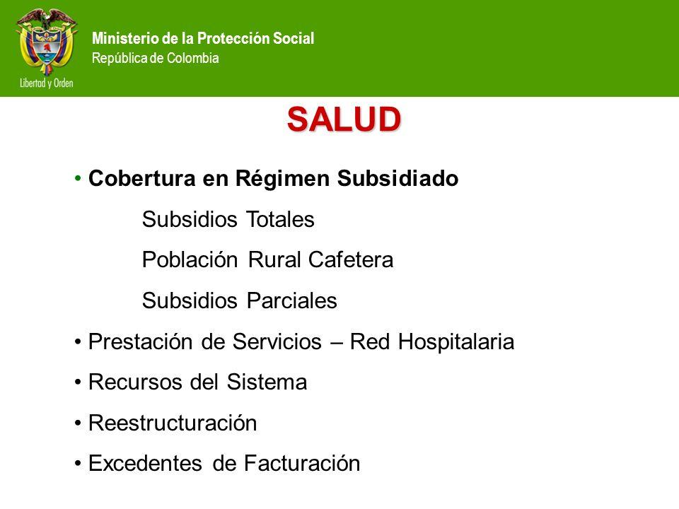 SALUD Cobertura en Régimen Subsidiado Subsidios Totales