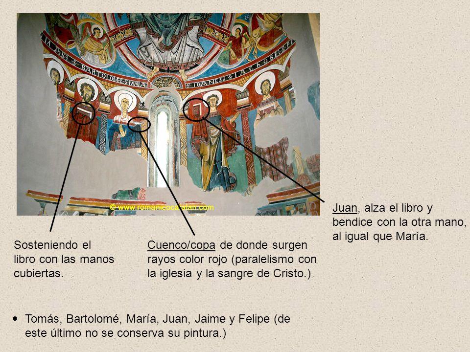 Juan, alza el libro y bendice con la otra mano, al igual que María.