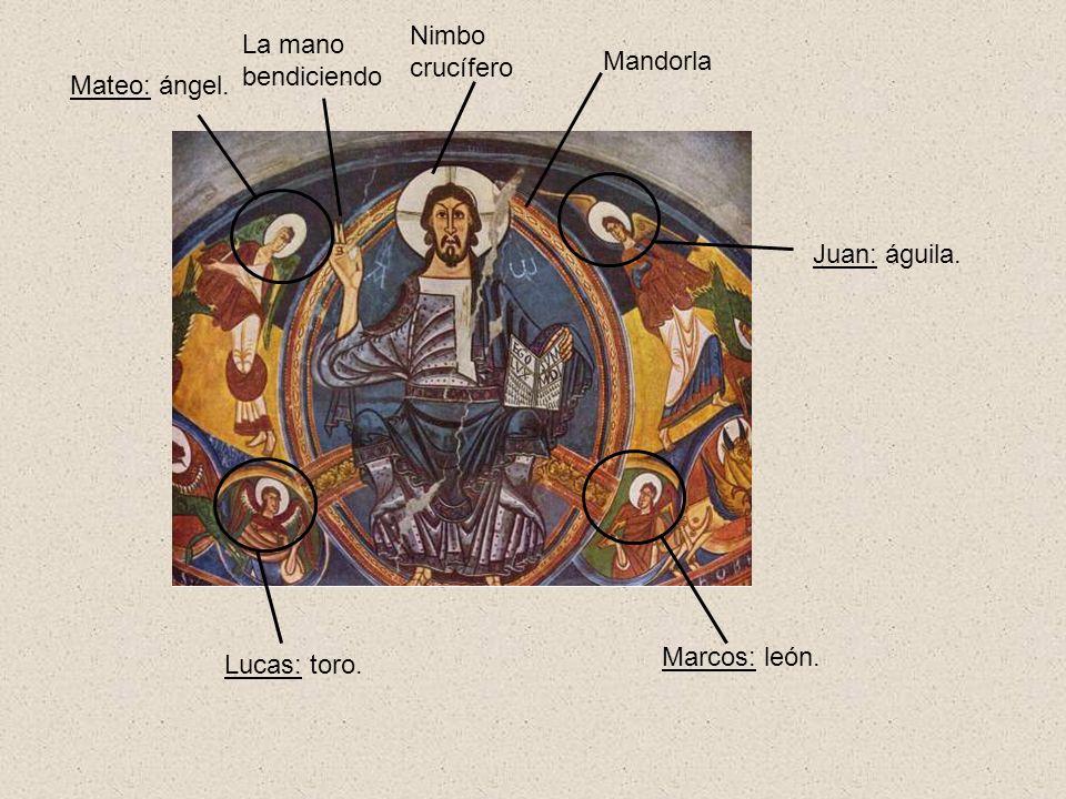 Nimbo crucífero La mano bendiciendo Mandorla Mateo: ángel. Juan: águila. Marcos: león. Lucas: toro.