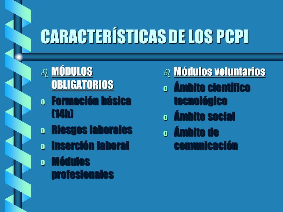 CARACTERÍSTICAS DE LOS PCPI
