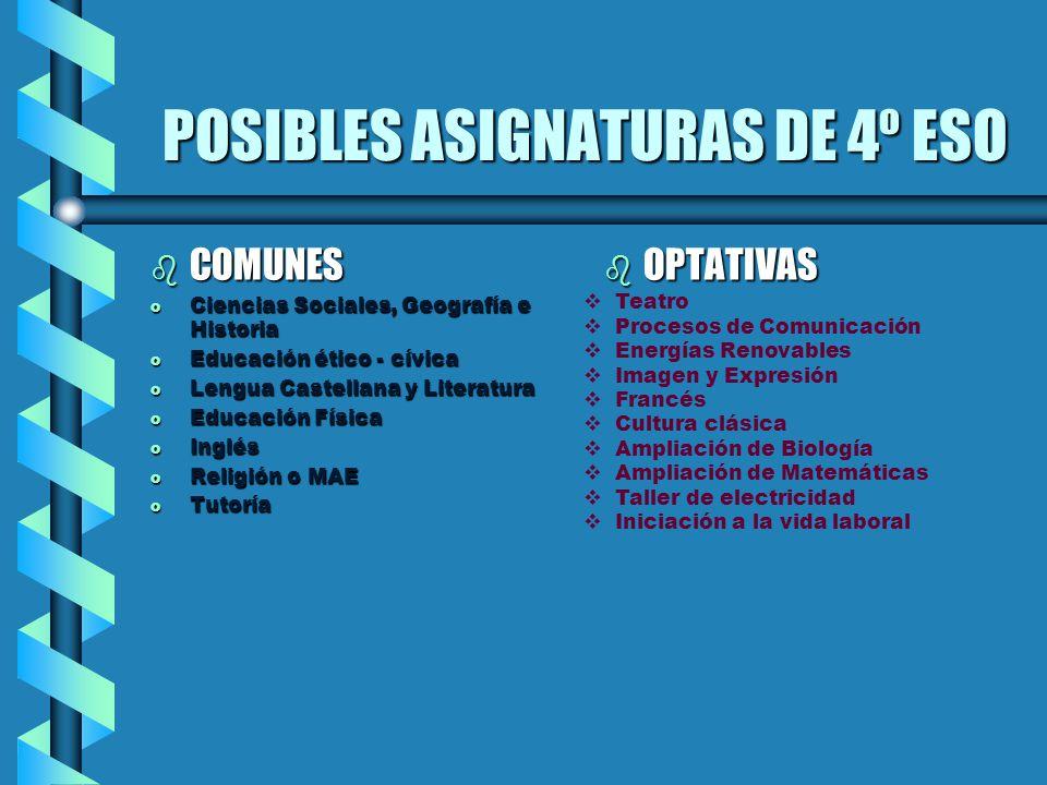 POSIBLES ASIGNATURAS DE 4º ESO
