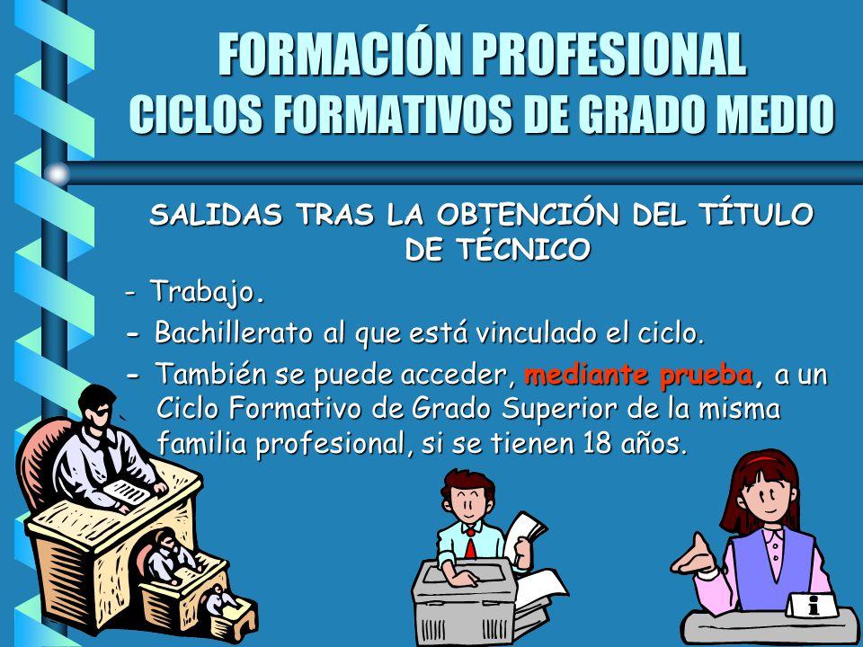 FORMACIÓN PROFESIONAL CICLOS FORMATIVOS DE GRADO MEDIO