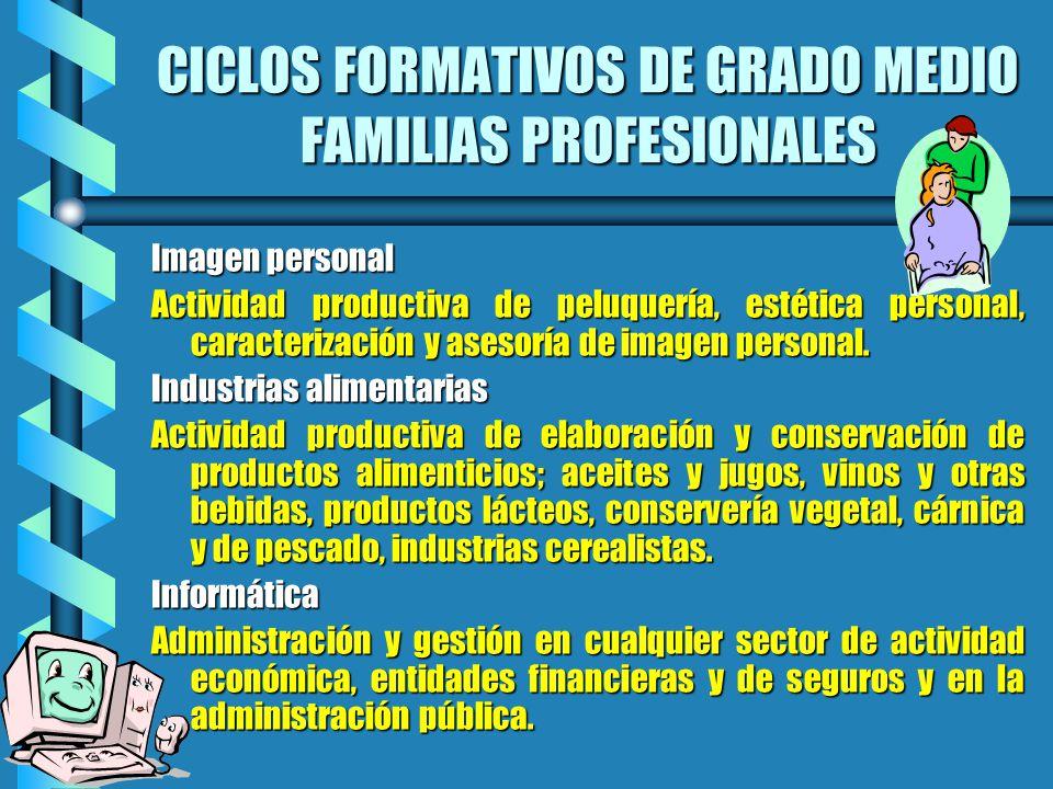 CICLOS FORMATIVOS DE GRADO MEDIO FAMILIAS PROFESIONALES