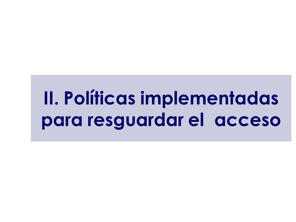 II. Políticas implementadas para resguardar el acceso