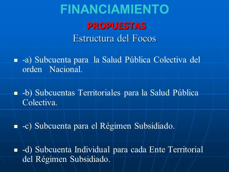 FINANCIAMIENTO PROPUESTAS Estructura del Focos