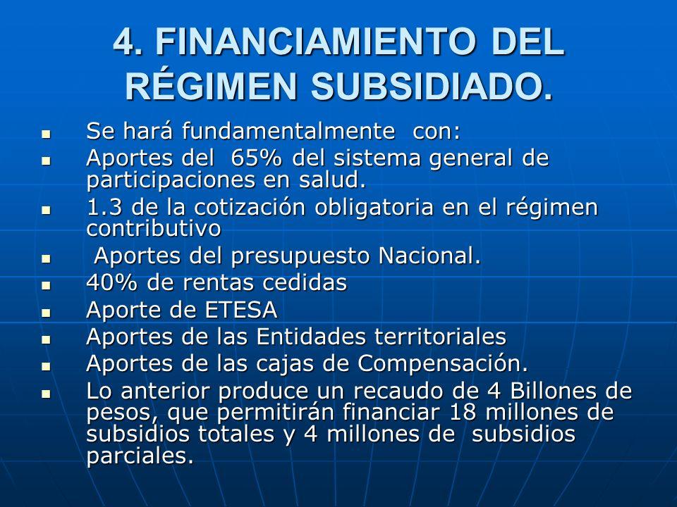 4. FINANCIAMIENTO DEL RÉGIMEN SUBSIDIADO.