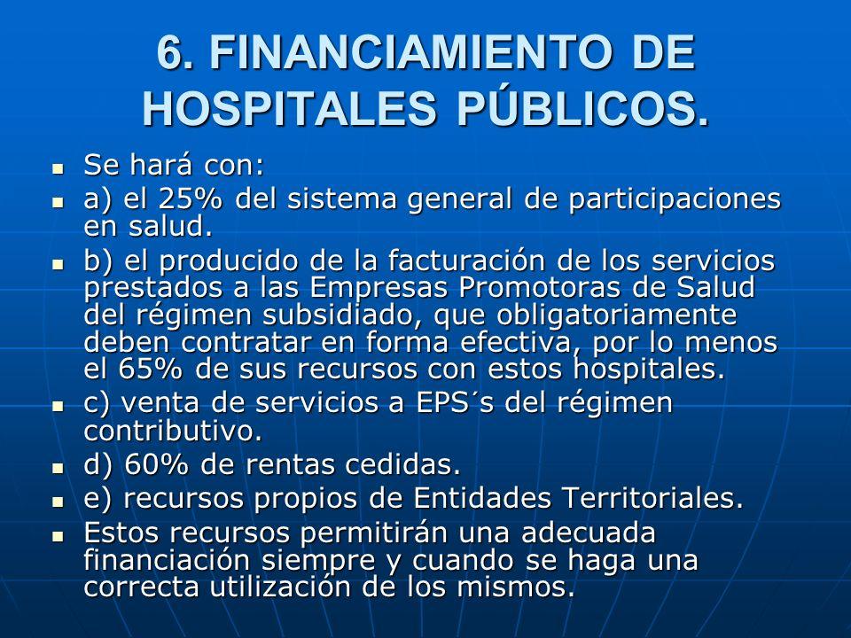 6. FINANCIAMIENTO DE HOSPITALES PÚBLICOS.
