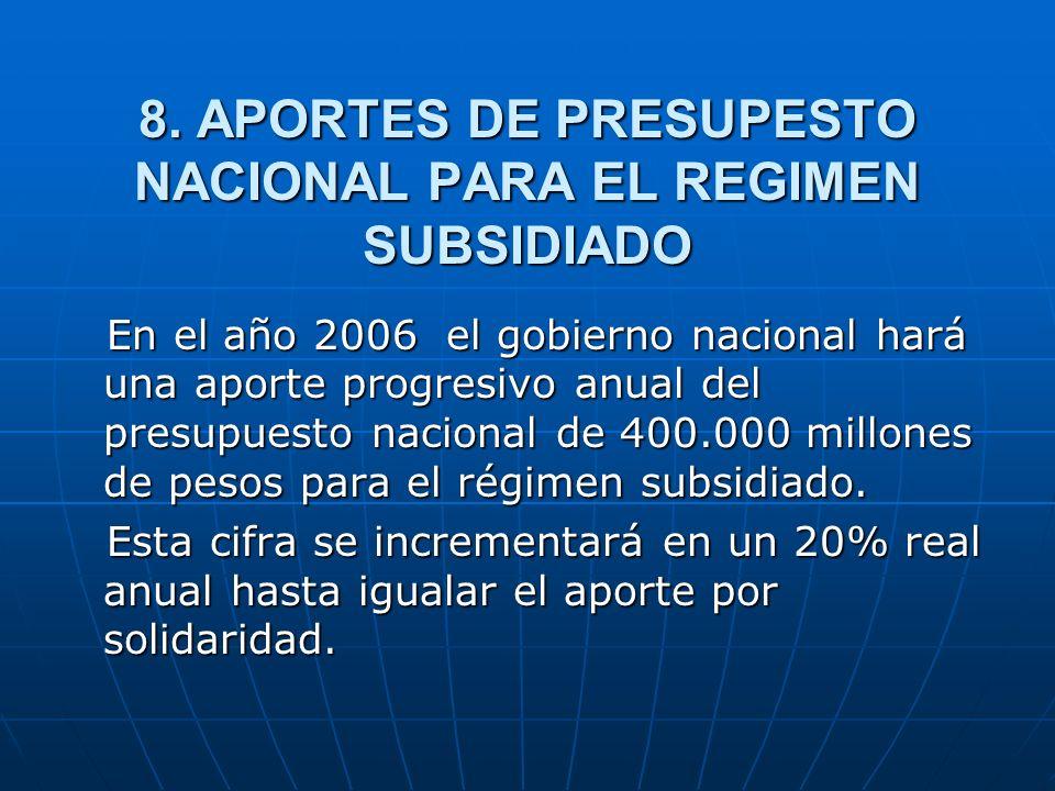 8. APORTES DE PRESUPESTO NACIONAL PARA EL REGIMEN SUBSIDIADO