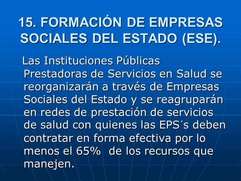 15. FORMACIÓN DE EMPRESAS SOCIALES DEL ESTADO (ESE).