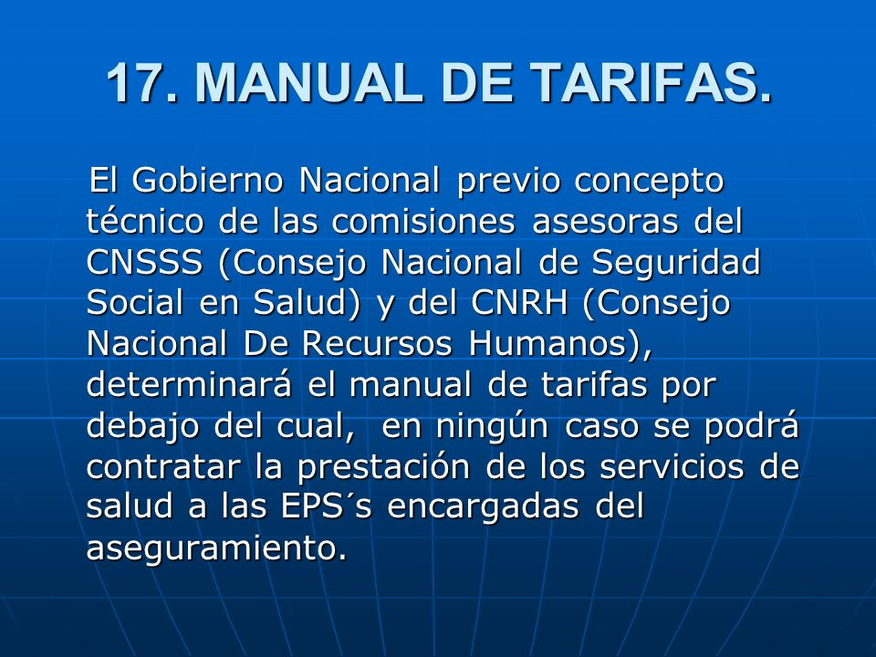 17. MANUAL DE TARIFAS.